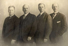 The first four Rotarians: (from left) Gustavus Loehr, Silvester Schiele, Hiram Shorey, and Paul P. Harris Courtesy of Rotary Images