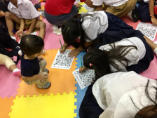 Kids were busy doing crafts.